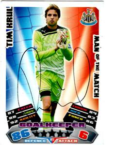 Tim Krul Newcastle United Match Attax Trade Card (Signed)