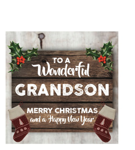 To a Wonderful Grandson Merry Christmas (Greetings Card)