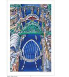 Tyne Bridges, River Tyne by John Coatsworth. (Tea Towel.)
