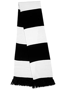 Vintage Traditional Black & White Football Bar Scarf