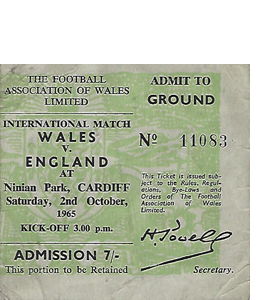 Wales v England 1965 International Match (Ticket)