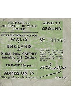 Wales v England 1965 International Match (Ticket)